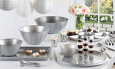Silver Serving Trays, Bowls & Utensils
