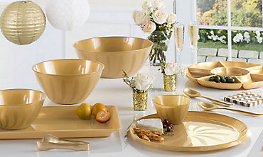 Gold Serving Trays, Bowls & Utensils