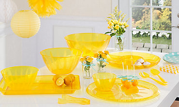 Yellow Serving Trays, Bowls & Utensils