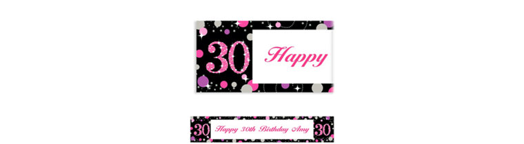 Custom Pink Sparkling Celebration 30 Banner