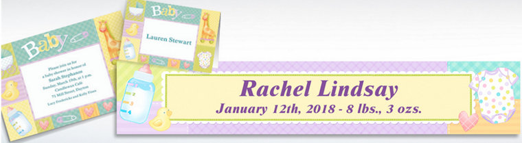 Custom Pastel Patchwork Baby Shower Invitations & Thank You Notes