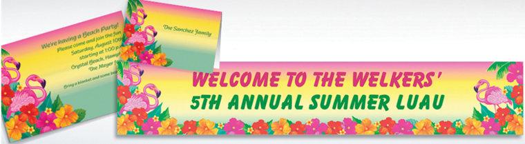 Custom Flamingo Beach Luau Invitations & Thank You Notes
