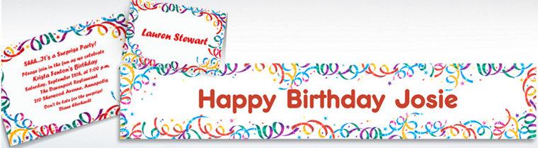 Custom Party Streamers Birthday Invitations & Thank You Notes