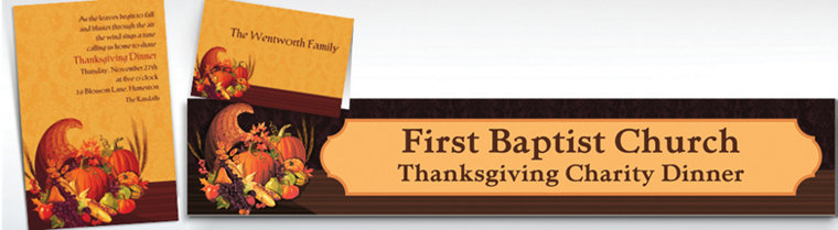 Custom November Harvest Thanksgiving invitations & Thank You Notes