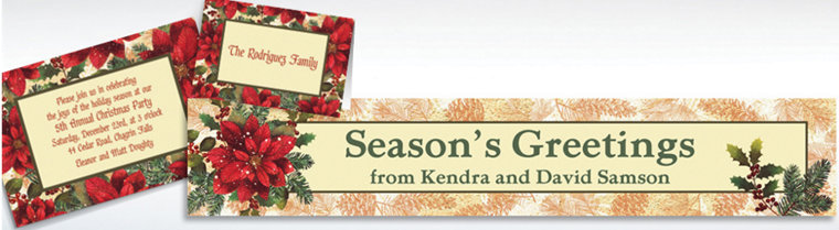 Custom Snowy Botanical Christmas Invitations & Thank You Notes