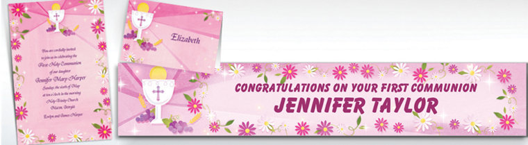 Custom Pink First Communion Invitations & Thank You Notes
