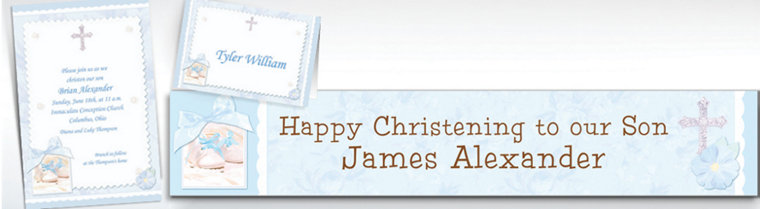 Custom Tiny Blessing Blue Invitations & Thank You Notes