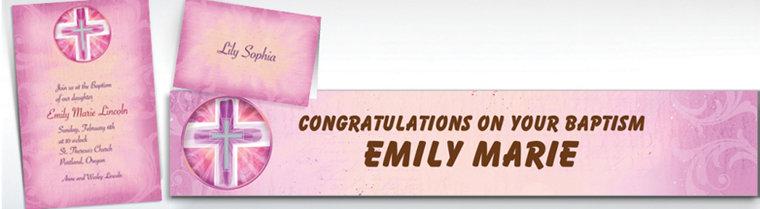 Custom Joyous Cross Pink Invitations & Thank You Notes
