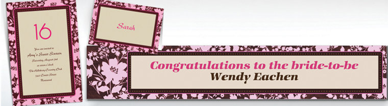 Custom Cocoa Floral Pink Invitations & Thank You Notes