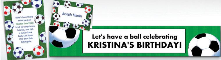 Custom Soccer Ball Border Invitations & Thank You Notes