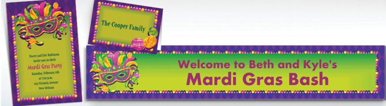 Custom Masquerade Mardi Gras Invitations & Thank You Notes