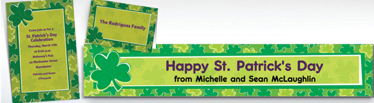 Custom Playful Shamrocks St. Patrick's Day Invitations & Thank You Notes