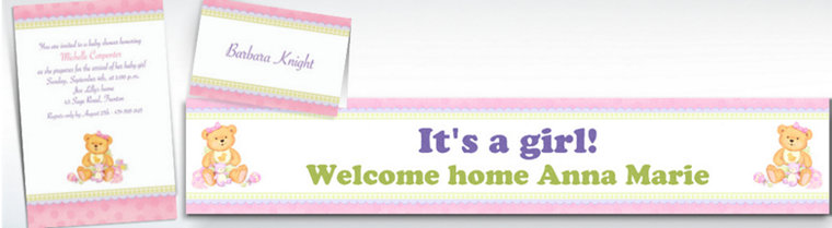 Custom Precious Bear Pink Baby Shower Invitations & Thank You Notes