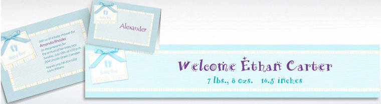 Custom Baby Soft Blue Baby Shower Invitations & Thank You Notes