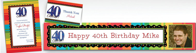 Custom A Year to Celebrate 40th Birthday Invitations & Thank You Notes