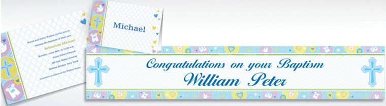 Custom Blue Sweet Religious Invitations & Thank You Notes