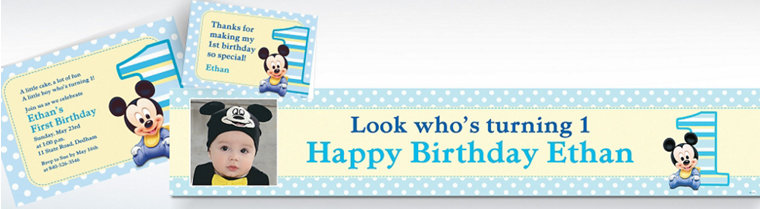 Custom Mickey Mouse 1st Birthday Invitations & Thank You Notes