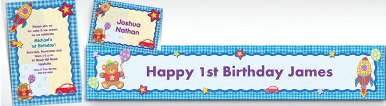 Custom Hugs & Stitches Boy Birthday Invitations, Thank You Notes & Banners