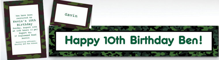 Custom Camouflage Invitations & Thank You Notes
