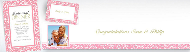 Custom Pink Wedding Invitations & Thank You Notes