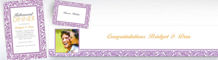 Custom Lavender Wedding Invitations & Thank You Notes