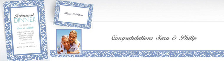Custom Pastel Blue Wedding Invitations & Thank You Notes