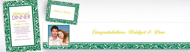 Custom Festive Green Wedding Invitations & Thank You Notes