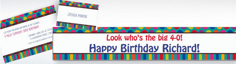 Custom Birthday Dots & Stripes Invitations & Thank You Notes