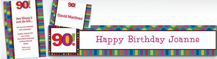 Custom Birthday Dots & Stripes 90th Invitations