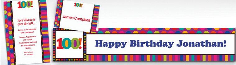 Custom Birthday Dots & Stripes 100th Birthday Invitations