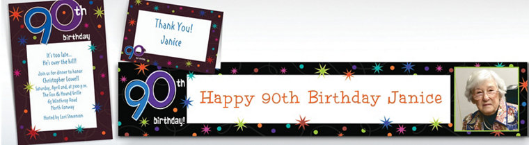 Custom The Party Continues 90th Invitations