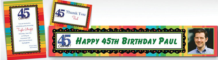 Custom A Year to Celebrate 45th Invitations & Thank You Notes