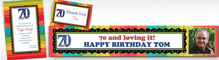 Custom 70th Birthday Invitations & Thank You Notes