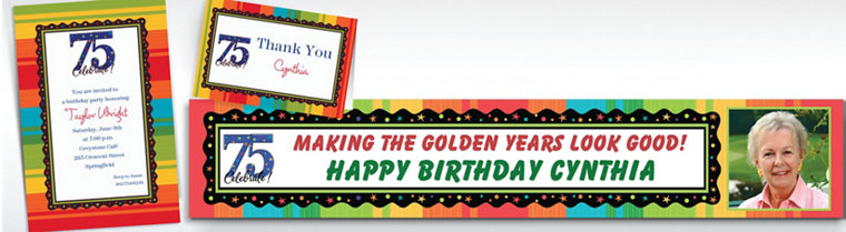 Custom A Year to Celebrate 75th Invitations & Thank You Notes