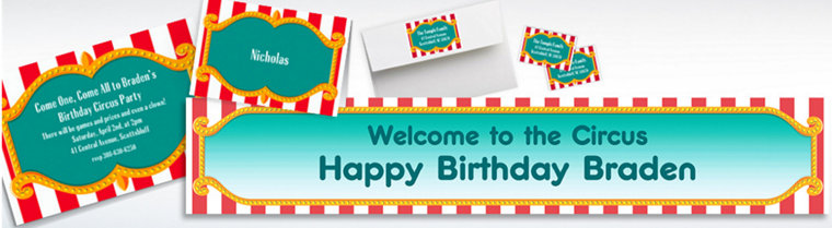 Custom Big Top Invitations, Thank You Notes & Banners