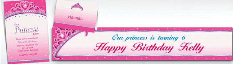 Custom Princess for a Day Invitations, Thank You Notes & Banners