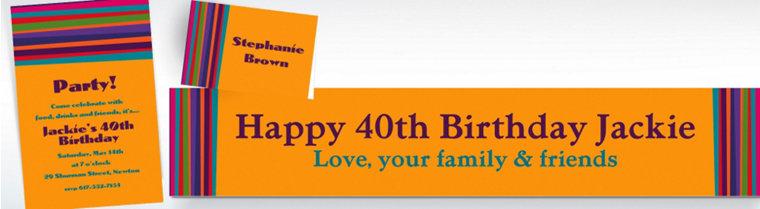 Custom Birthday Stripe Invitations & Thank You Notes