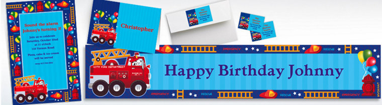 Custom Fire Engine Invitations & Thank You Notes