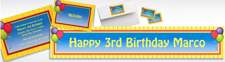 Custom Balloons & Stripes Birthday Invitations & Thank You Notes