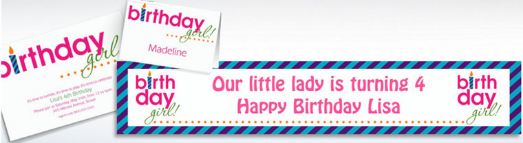 Custom Birthday Girl Text Invitations & Thank You Notes