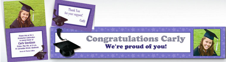 Custom Purple Graduation Invitations & Thank You Notes
