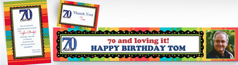 Custom A Year to Celebrate 70th Birthday Invitations
