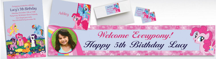 Custom My Little Pony Friends Invitations, Thank You Notes & Banners