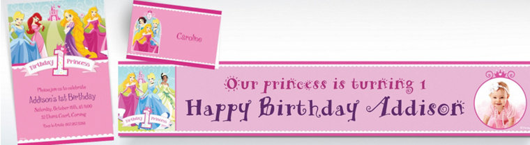 Custom Disney Princess 1st Birthday Invitations & Thank You Notes
