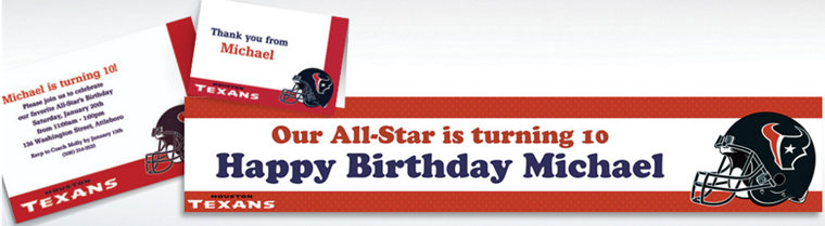 Custom Houston Texans Invitations & Thank You Notes