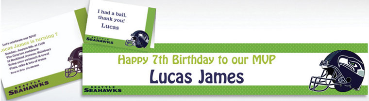 Custom Seattle Seahawks Invitations & Thank You Notes