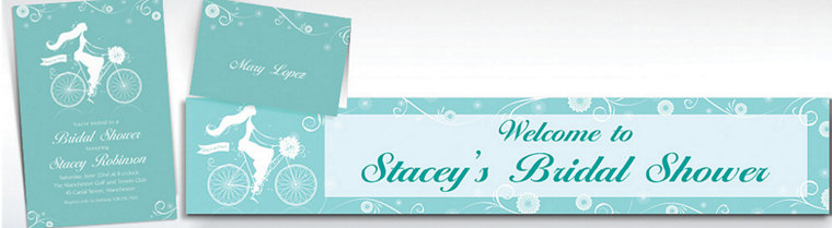 Custom Chapel Bicycle Bridal Shower Invitations & Thank You Notes