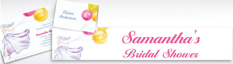 Custom Bride with Balloons Bridal Shower Invitations & Thank You Notes