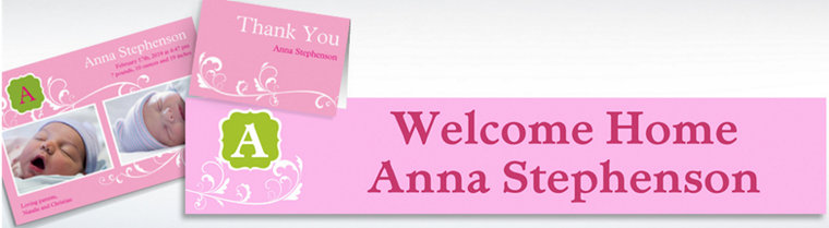 Custom Filigree and Monogram Girl Announcements, Thank You Notes & Banners