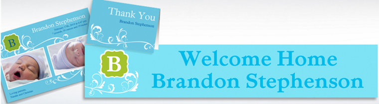 Custom Filigree and Monogram Boy Announcements, Thank You Notes & Banners